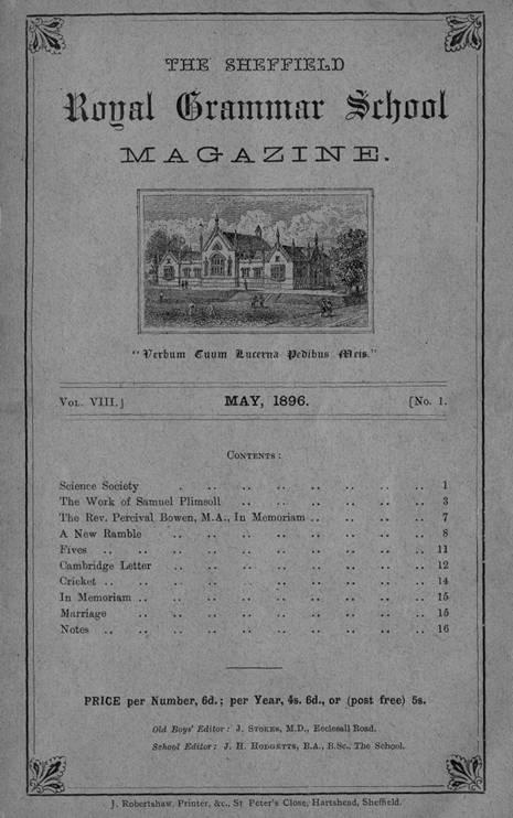 Sheffield Royal Grammar School - Magazine, May 1896